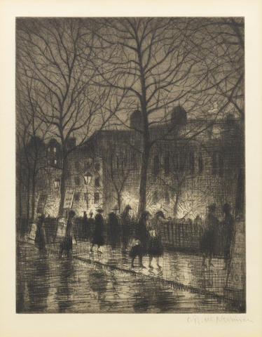 Christopher Richard Wynne Nevinson A.R.A. (British, 1889-1946) Twilight in Leicester Square (Guichard 79) Etching with aquatint, c.1925, on laid, signed in pencil, with margins, 178 x 138mm (7 x 5 1/2in)(PL)