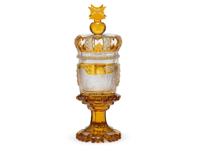 An exceptional Bohemian amber-stained goblet and crown cover, circa 1850-70
