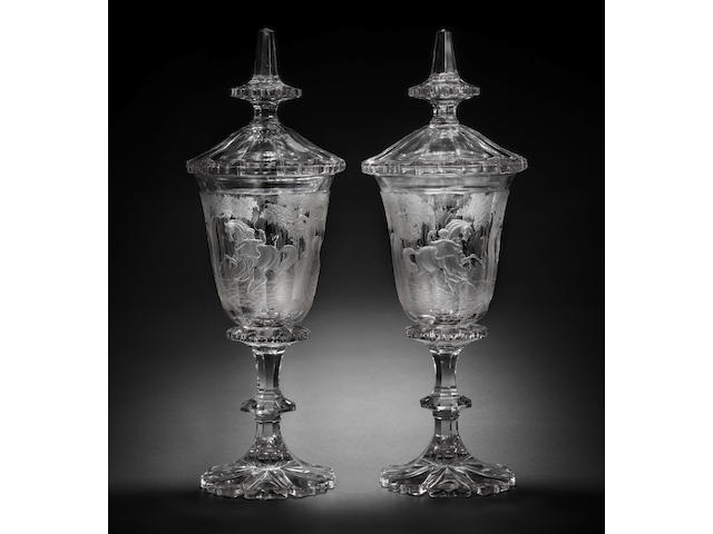 An important and massive pair of Bohemian clear-glass goblets and covers, circa 1850-70