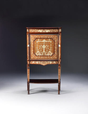A fine late Victorian rosewood and ivory marquetry bowfront cabinet on stand by Collinson and Lock, the marquetry designed by Stephen Webb, the cabinet probably designed by J.S Lock