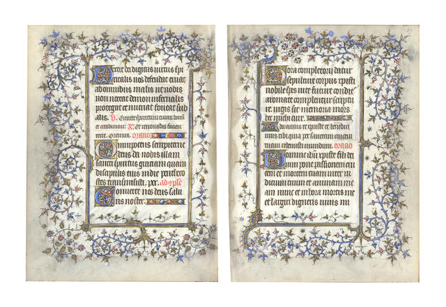 ILLUMINATED MANUSCRIPT LEAVES, 2 leaves, Paris, first part of 15th century