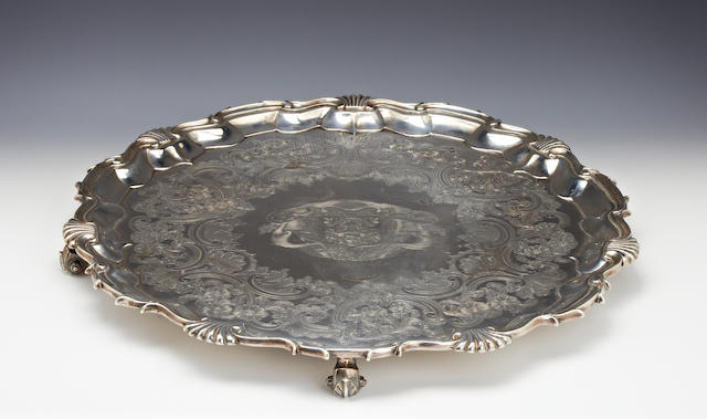 A Victorian silver circular salver by S.Roberts, Smith & Co., Sheffield 1840