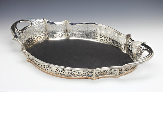 An Edwardian silver two handled gallery tray by Charles Stuart Harris, London 1903