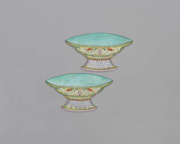 An unusual pair of Chinese famille rose wall vases, 19th century