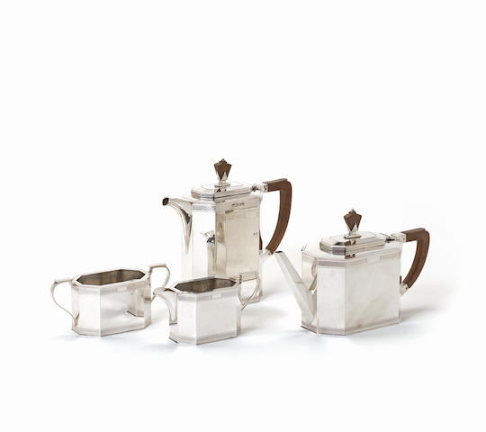 An Art Deco silver four-piece tea and coffee service by A E Poston & Co Ltd, Birmingham 1939  (4)