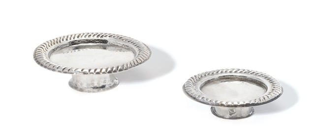 Two graduated Queen Anne silver footed salvers by George Manjoy, London 1702 and 1705  (2)