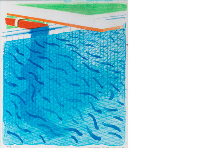David Hockney (British, born 1937) Pool made with Paper and Blue Ink for Book Lithograph printed in colours, 1980, on Arches cover paper, signed, dated and numbered 456/1000 in pencil, published by Tyler Graphics Ltd, Mount Kisco, New York, with their blindstamp, with full margins, 265 x 230mm (10 3/8 x 9 1/8in)(SH) unframed