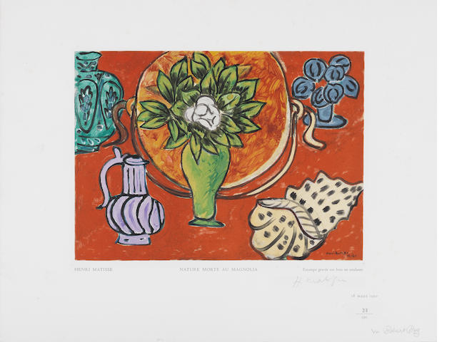 After Henri Matisse (French, 1869-1954) Nature Morte Au Magnolia, from Estampes Wood engraving printed in colours, 1950, on Van Gelder Zonen, signed and numbered 38/150 in pencil, countersigned by the publisher, published by Robert Rey, Paris, with full margins, 362 x 466mm (14 1/4 x 18 3/8in)(SH) (unframed)