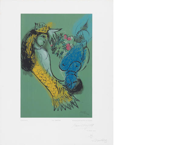 After Marc Chagall (Russian/French, 1887-1985) La Sirene, from Estampes Wood engraving printed in colours, 1950, on Van Gelder Zonen paper, signed and numbered 38/150 in pencil, countersigned by the publisher, published by Robert Rey, Paris, with full margins, 466 x 362mm (18 3/8 x 14 1/4in)(SH)(unframed)