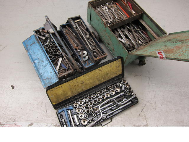 A quantity of assorted motorcycle workshop tools,