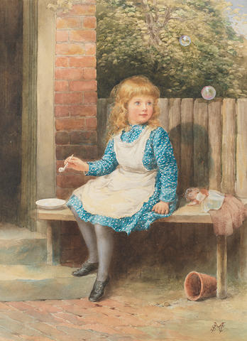 Samuel McCloy (Irish, 1831-1904) Blowing bubbles