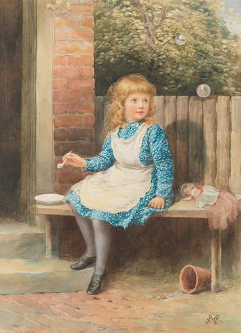 Samuel McCloy (Irish, 1831-1904) Blowing bubbles