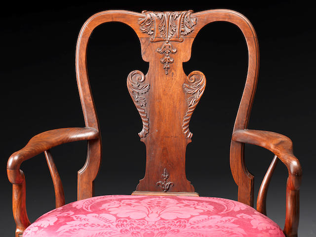 A George II Anglo-Chinese Huang Huali armchair