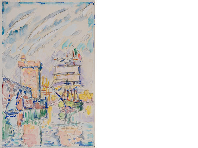 Paul Signac (French, 1863-1935) Marseille, la sortie du port 14.5 x 9cm (5 11/16 x 3 9/16in) image size; 28 x 22.5cm (11 x 8 7/8in) sheet size.