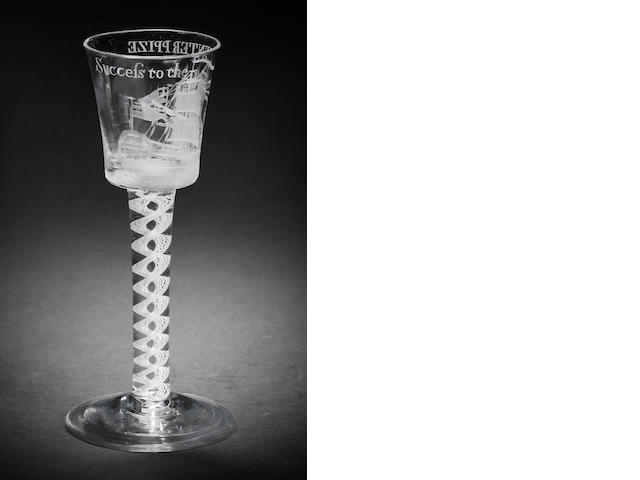 A 'Privateer' wine glass for the Enterprize, circa 1758