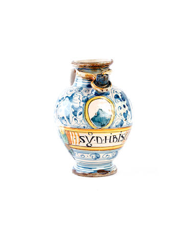 An Italian maiolica wet drug jar, 18th century