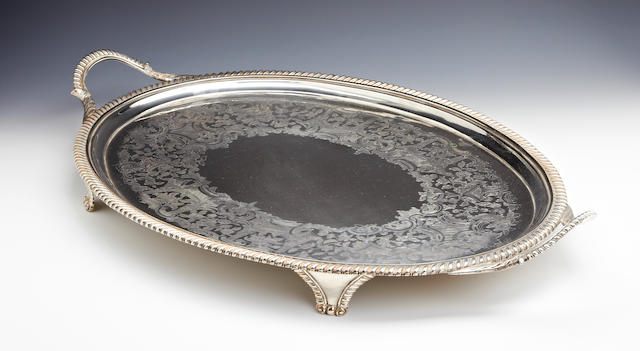 A George III silver two-handled tray by John Mewburn, London 1812