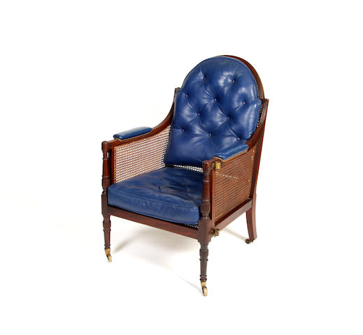 An unusual Regency mahogany library chair Possibly Scottish