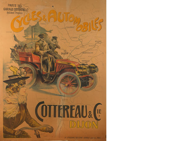 A 'Cottereau & Cie. Cycles & Automobiles' colour lithographic poster,