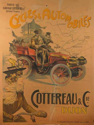 A 'Cottereau & Cie. Cycles & Automobiles' colour lithographic poster,