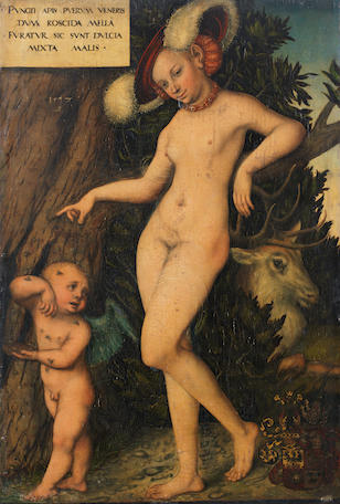 Lucas Cranach the Elder (Kronau 1472-1553 Weimar) Venus with Cupid stealing honey unframed