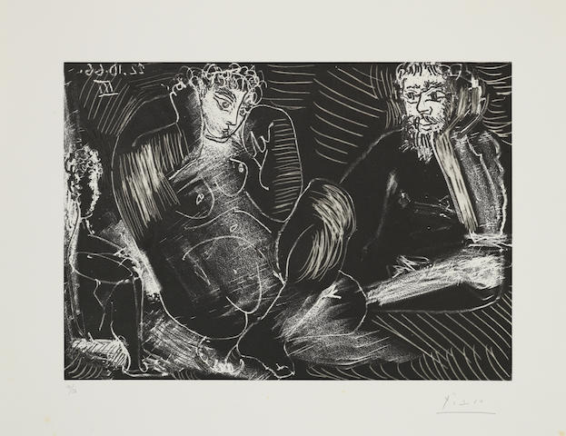 Pablo Picasso (Spanish, 1881-1973) Couple avec un enfant  Etching with aquatint, 1966, on BFK Rives, signed and numbered 14/50 in pencil, after steelfacing, published in 1968 by Galerie Louise Leiris, Paris, with margins, 275 x 387mm (10 3/4 x 15 1/4in)(PL) unframed