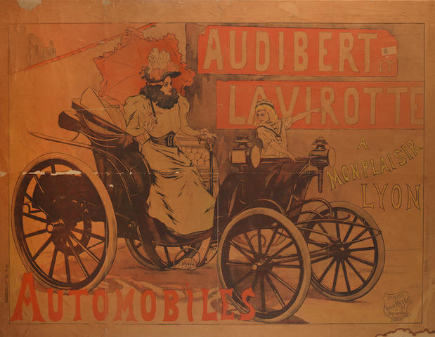 A rare Audibert et Lavirotte Automobiles advertising poster, French, 1896,