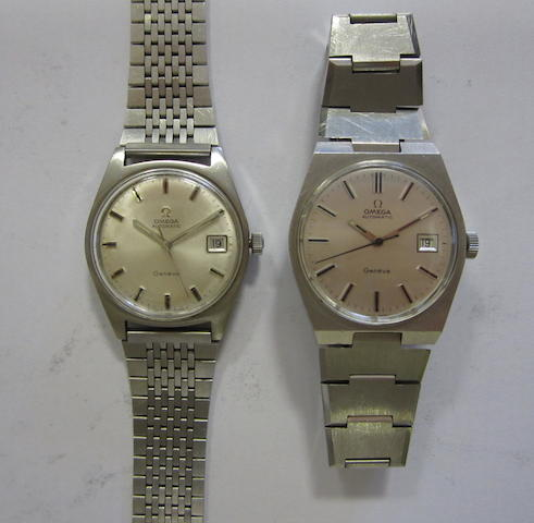 A lot of two stainless steel bracelet watches by Omega (AF)