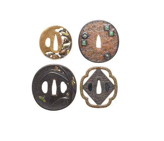 Four soft metal and iron tsuba 18th/19th century