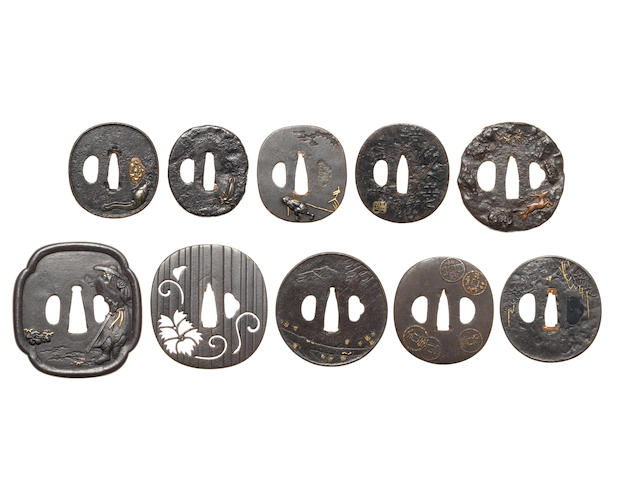 Ten Hamano School and Nara School iron tsuba 17th to 19th century