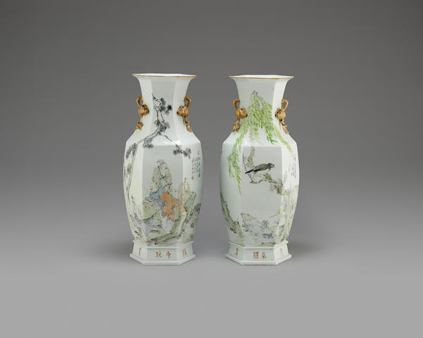 A pair of famille rose hexagonal baluster vases 20th century