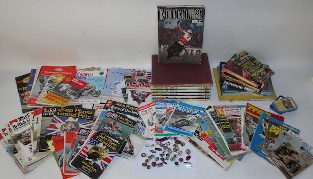 Assorted motorcycle lapel badges, race programmes and literature,