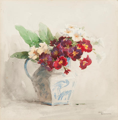 Gerald Ackermann RI (1876-1960) Still life of primulas in a jug