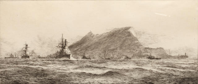 William Lionel Wyllie (British, 1851-1931) The Rock of Gibraltar; and companion each signed in pencil to the margin etchings (a pair) 16 x 37.5cm. (2)