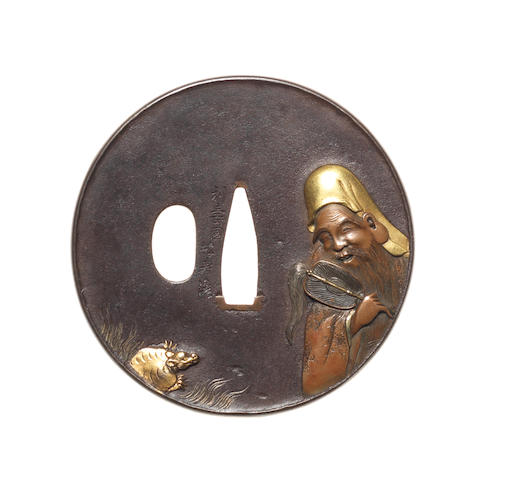 A kinko iron tsuba By Okawa Teikan (born 1828), after a design by Toshinaga, late 19th century