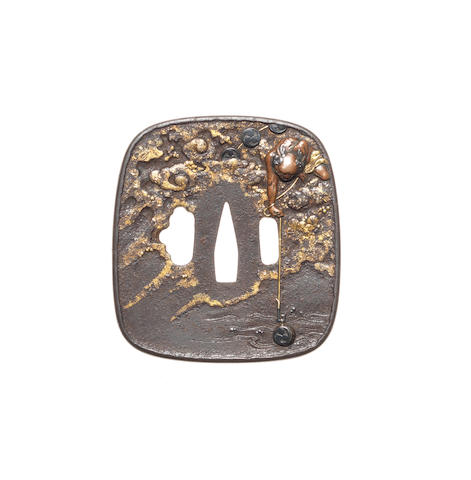 A Tanaka-style iron kinko tsuba 19th century
