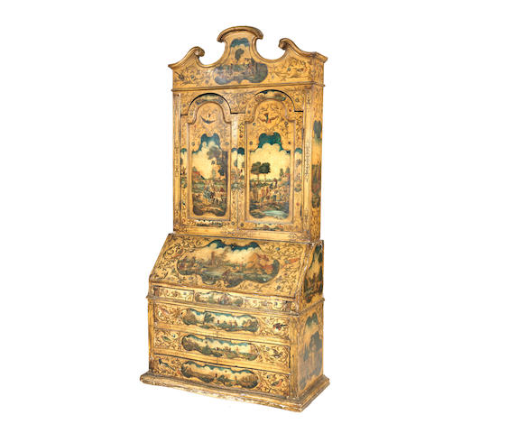 A Venetian 19th century polychrome decorated and 'lacca povera' bureau cabinet