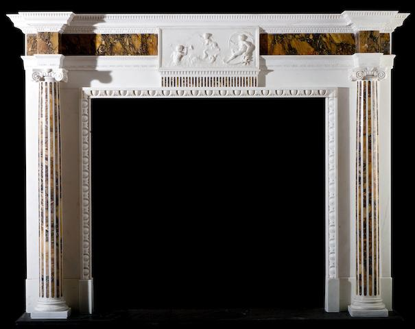 A George III white and Siena marble chimneypiece