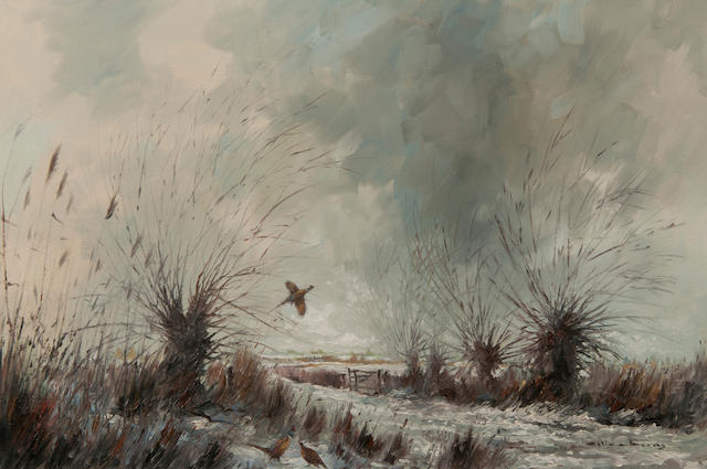 Colin W. Burns (British, born 1944) Pheasants in the snow