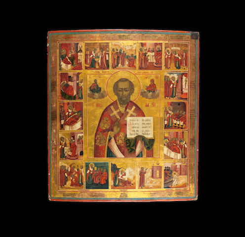 St Nicholas and Sixteen Scenes of his life Russia, early 19th century