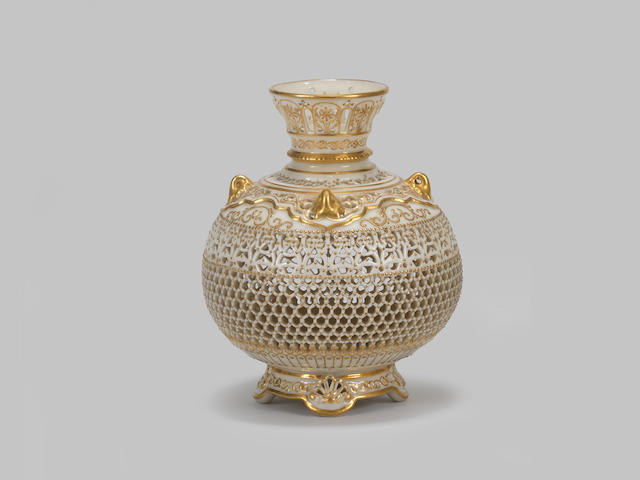 A good Royal Worcester reticulated vase by George Owen, dated 1919