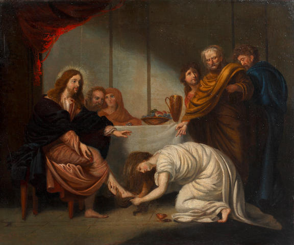 English School, 18th Century  Christ in the House of Simon the Pharisee unframed