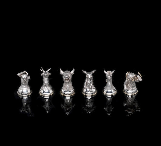 A set of six silver stirrup cups Samuel Arndt, St. Petersburg, circa 1856-1860 height of horse: 7.5cm (3in). (6)