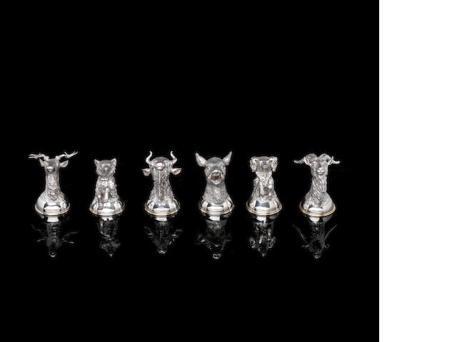 A set of six silver stirrup cups Samuel Arndt, St. Petersburg, circa 1856-1857 height of bison: 7.7cm (3in). (6)