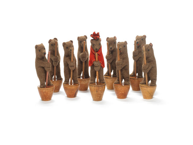 A rare set of nine Steiff bear skittles, circa 1908