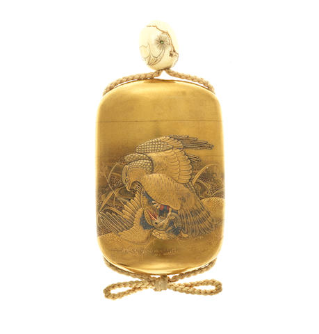A gold lacquer four-case inro By Kogan, 19th century
