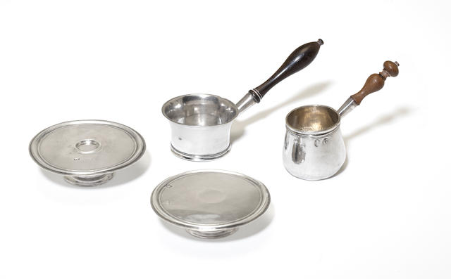 Two 18th century silver miniature saucepans and two footed salvers all by David Clayton, London  (4)