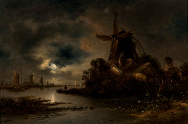 William Henry Crome (British, 1806-1873) Estuary scene with windmill by moonlight