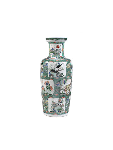 A Chinese famille verte rouleau vase, Kangxi period