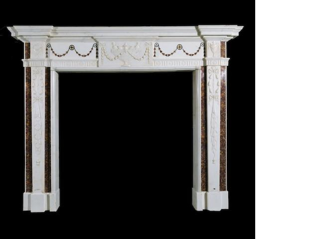 An Irish George III white statuary marble and brocatelle marble chimney-piece